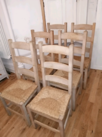 6 Ash or Beech ladderback dining chairs rush vintage retro modernist