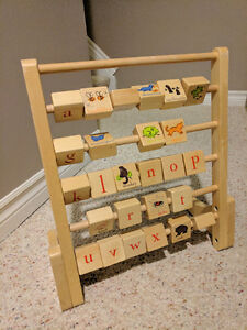Pottery Barn Kids wooden alphabet abacus