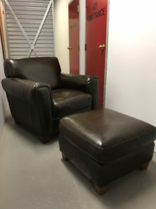 Natuzzi Brown Leather Club Chair & Ottoman