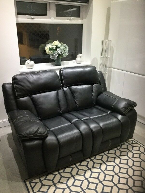 Black leather 2 seater manual recliner