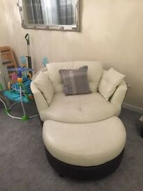 Swivel chair and foot stool