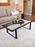 Crate and barrel glass coffee table 24 x 46