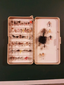 56 fishing flies and case