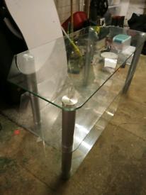 Corner TV unit. Clear glass.