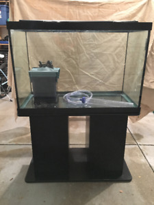 65 gallon aquarium with filter, stand and led lights