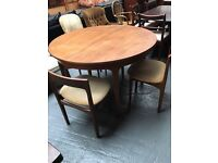 'NATHAN' TEAK EXTENDING TABLE + 4 CHAIRS