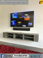INSTALLATION TELEVISION 514-602-6754 tv support murale au mur