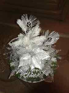 SILVER POINSETTIA CHRISTMAS CENTERPIECE ☆CLEARANCE☆