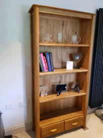 Oak furnitureland bookcase with 2 drawers