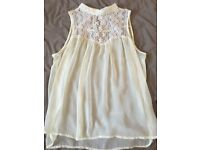 Cream Lace Top Size 8-10