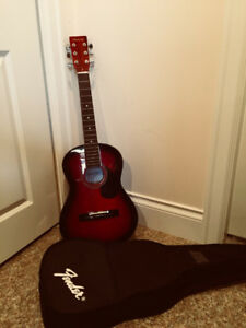 Denver Acoustic Guitar - 3/4 Size - RED with CASE !!!!