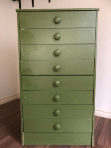 Chest of drawers, wood, green-coloured, very low price