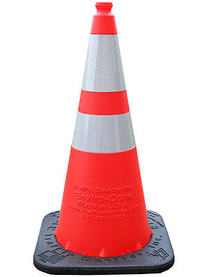 50 - 28 Traffic Cones Enviro-cones Orange With 7lb Base. Orange With 2 Bands