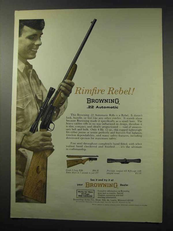 1965 Browning .22 Automatic Rifle Ad - Rimfire Rebel