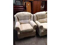 CREAM PATTERNED 3+1 SUITE - GOOD CONDITION - CAN DELIVER