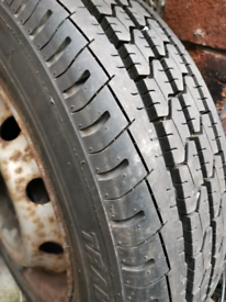 Tyre for van on rim.