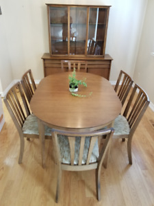 1960s Solid Walnut Dining Table, Chairs and China Cabinet