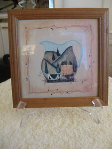 """ADORABLE OLD VINTAGE PIECE of """"MINI"""" FOLK ART...in the SQUARE"""