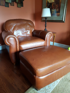 Ultra Soft Leather Chair & Ottoman [both pieces]