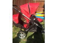 BRITAX B DUAL DOUBLE BUGGY(Red)