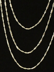 "Women's 18"" 20"" 22"" 925 sterling Silver 1.4mm Water Waves Chain"