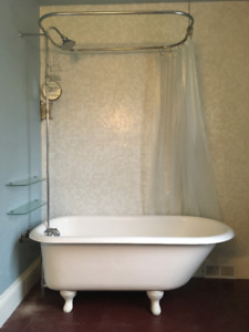 Vintage Cast Iron Clawfoot Tub - Shower Rig / Faucet Inc.