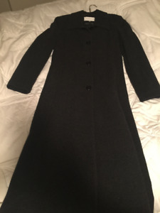 Ladies Dark Charcoal Wool & Cashmere Maxi Coat