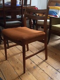 Set of two lovely mid century vintage Danish retro solid wood dining chairs
