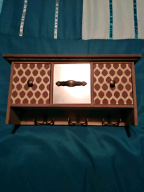 Wooden jewellery drawers with hooks