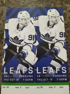 Penguins vs Maple Leafs - Thurs. Oct. 18th, 7 PM 2ND ROW