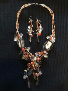 Glass Beaded Necklace & Earings