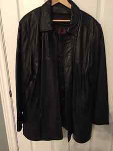 Men's Black Leather Coat