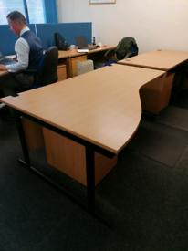 Large left hand office desk in beech