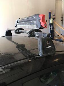 Mazda 3 roof crossbars with Yakima ski/snowboard rack.  Windsor Region Ontario image 1