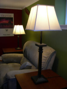 Table lamps set of two with adjustable stand fabric shades