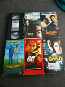 VHS lot, Gone In 60 Seconds, Halfbaked, TheJackal, Sand
