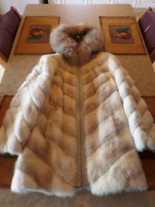 3/4 length white mink coat