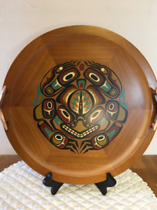 """Vintage Haida Art """"Story of the Frog"""" Wooden Tray"""