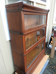 antique barrister bookcase professionally restored, 3 sections