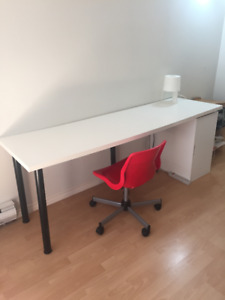Long White Ikea Desk