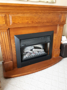 Large solid oak Electric Fireplace