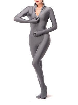 Gray Unisex Lycra Spandex Suit Second Skin Front Zip Zentai Costume Unitard