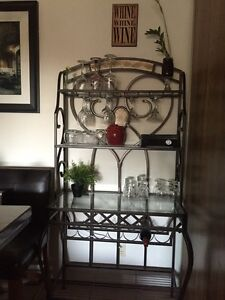 Gorgeous Wine / Bakers Rack with glass and slate feautures
