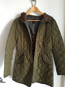 Massimo Dutti - Olive Quilted & Hooded Draw String Coat