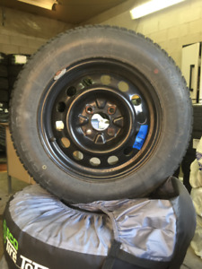Hyundai Accent 185/65/R14 Tiger paw winter tires on steel rims