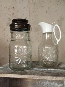 Two Vintage Jars, Syrup Pitcher, Coffee Jar or Nut Jar