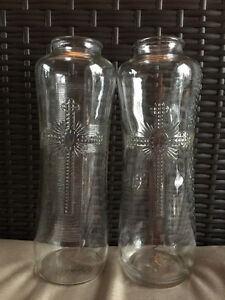 2 vintage church glass candle holders