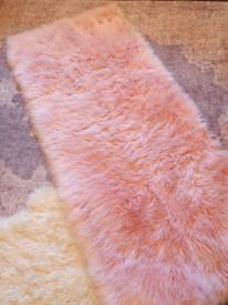Large pink Faux Fur Sheepskin rug