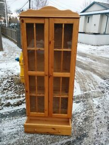 Solid Pine Shelving China Cabinet With Drawer