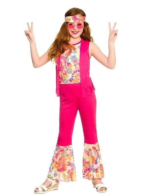 Hippie Girls Fancy Dress 1960s 1970s Funky Groovy Peace Childs Kids 60s Costume